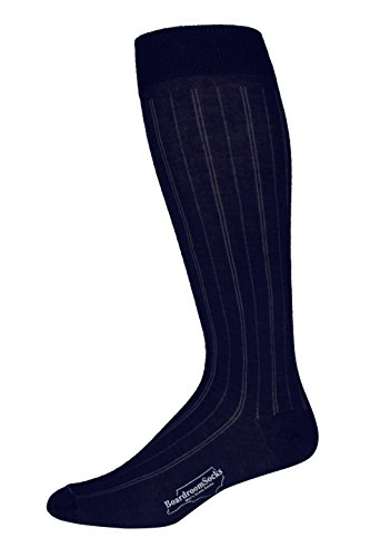 [Boardroom Socks Men's Over the Calf Merino Wool Dark Navy Pinstripe Dress Socks] (Navy Pinstripe Dress)