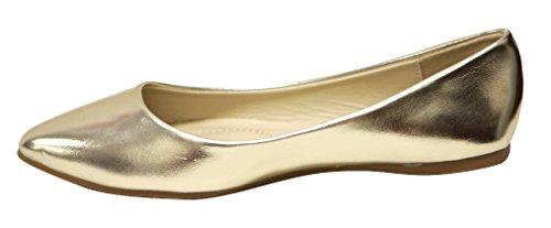 Bella Marie Damesschoenen Klassieke Puntige Teen Ballet Slip Op Platte Schoenen Goud