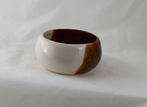 Pottery Brown and White Shaving Soap Bowl- Handmade in the USA, Beautiful Gift!