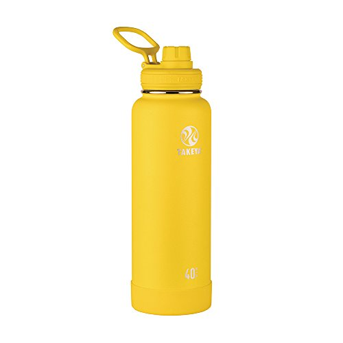 Takeya Actives Vacuum-Insulated Stainless-Steel Water Bottle with Insulated Spout Lid, 40oz, Solar by Takeya