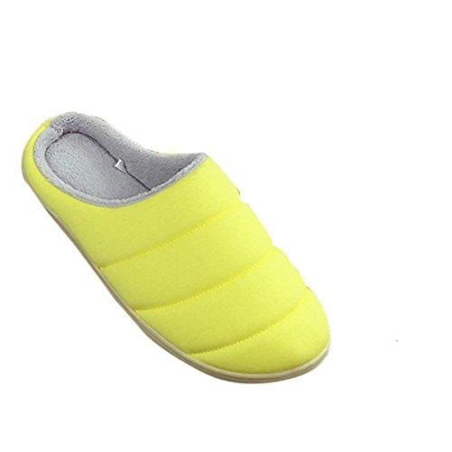 Transer® Damen Plüsch Hausschuhe Herbst/Winter Warm Schuh Plüsch+TPR Sandelholz Slipper Schuhe Länge 25.4cm (Bitte achten Sie auf die Größentabelle. Vielen Dank!) Gelb