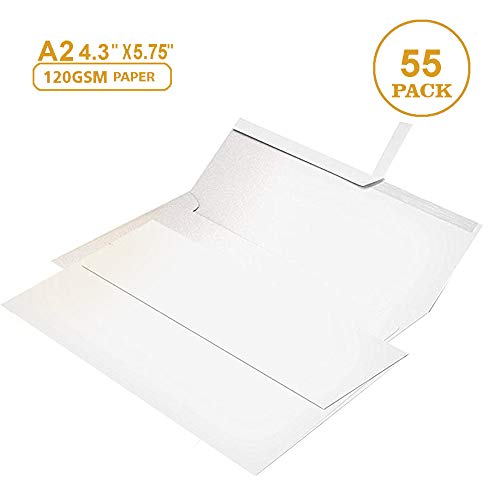 (55 4 ⅜ x 5 ¾ White Invitation Envelopes - A2 - for Wedding Invites, RSVP, Greeting Cards, Photo Storage Mailing, Quarter Folded 8.5x11 Paper, 5.5 x 4 Inserts - W/Peel, Press & Self Seal)