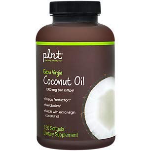 plnt Organic Extra Virgin Coconut Oil 1,000mg per Softgel Supports Energy Production Metabolism Superfood, Perfect for Keto Diet (120 Softgels)
