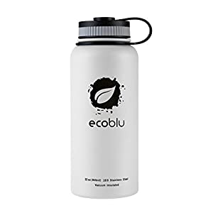LOGO MAY SMEAR - Ecoblu 32oz Summer Wide Mouth Stainless Steel Water Flask - White - Double Walled BPA Free Hydro Insulated Large Water Bottle for Hot and Cold Liquids - Perfect for Men and Women