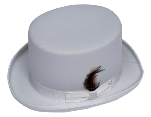 New Mens White Top Hat - 100% Wool, Extremely Stylish, Very High Quality! (White Satin Top Hat)