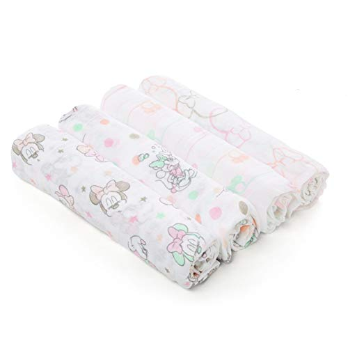 Aden by aden + anais Disney Swaddle Baby Blanket, 100% Cotton Muslin, 4 Pack, 44 X 44 inch, Minnie Bubble ()