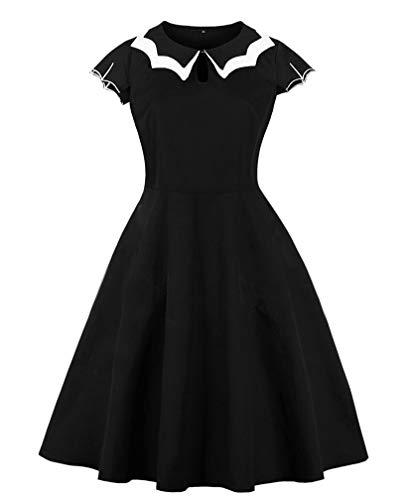 (Lealac Women's Casual Cotton High Waist Plus Size Vintage Dress L134-New D8092 Black)