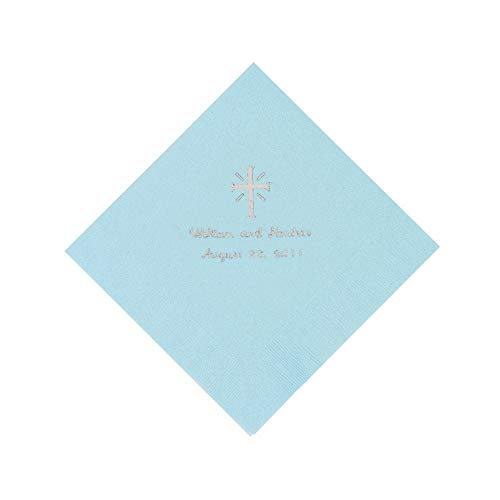 Light Blue Cross Personalized Napkins with Silver Foil - Beverage by Fun Express