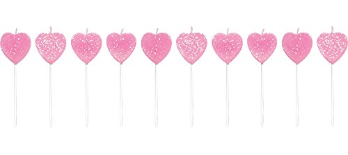 Heart Cakes (Creative Converting 10 Count Pick Sets with Glitter Cake Candles, Hearts, Pink)