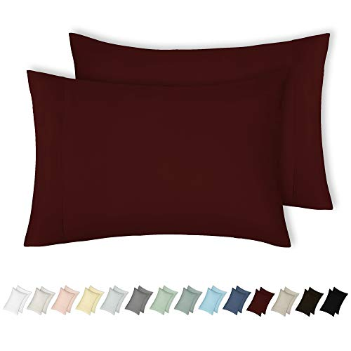 n 400 Thread Count 100% Cotton Pillowcase Set of 2 - Long-Staple Combed Pure Natural Cotton Pillowcase for Kids & Adults, Soft & Silky Sateen Weave (King, Red Wine) ()