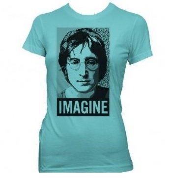 John Lennon Imagine Square Photo Womens T-shirt Tahiti Blue, X-Large