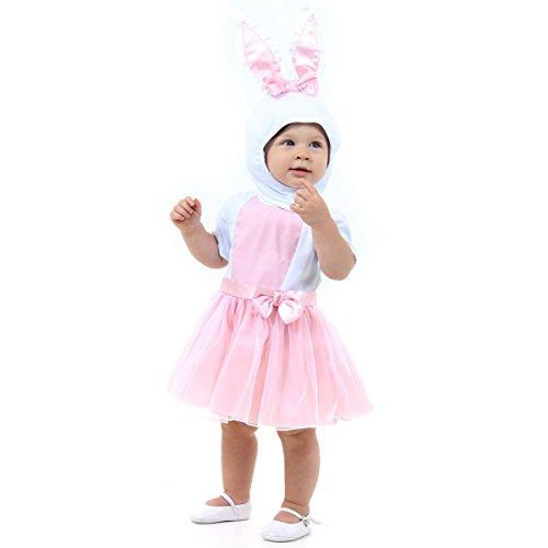 Fantasia Coelhinha Bebê 11632-P Sulamericana Fantasias Branco/Rosa P 1 Ano
