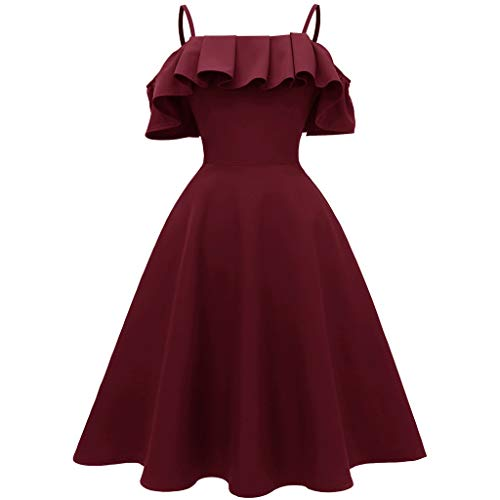 Price comparison product image Women Sexy Off Shoulder Spaghetti Strap Ruffled Long Dress for Evening Party Cocktail Wedding Sundress Skirt Daorokanduhp