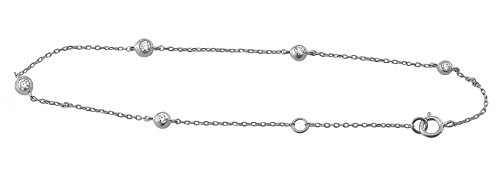 10K White Gold 0.15 Carat (ctw) Natural Round Cut Diamond Adjustable Ball Chain Bracelet for Women 7
