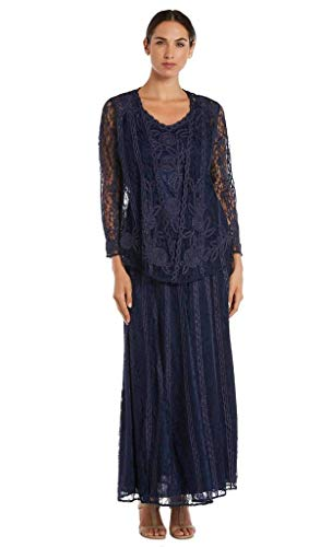 SOULMATES - 1602 Embroidered Circle Skirt Three Piece Gown Navy