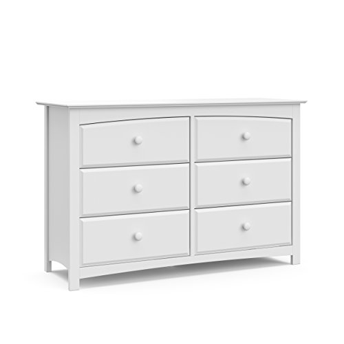 Storkcraft Kenton 6 Drawer Universal Dresser, White, Kids Bedroom Dresser with 6 Drawers, Wood and Composite Construction, Ideal for Nursery Toddlers Room Kids Room
