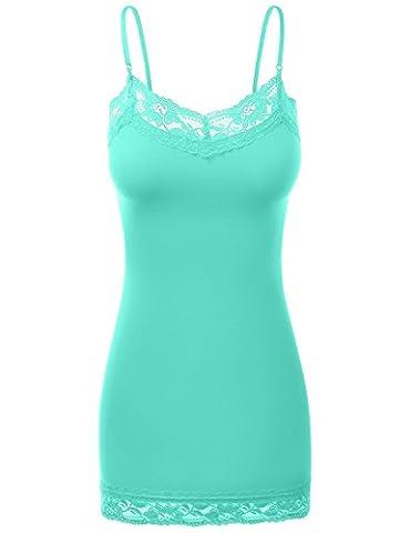 Lace Plus Size Adjustable Spaghetti Strap Cami Tops Blue Mi XXX-Large - Smocked Waist Silk Blouse
