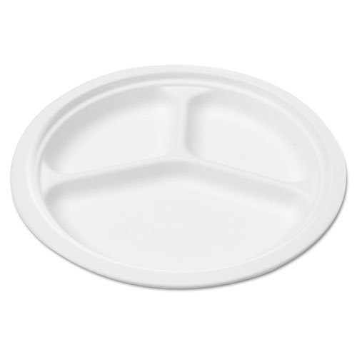 NatureHouse Compostable Sugarcane Bagasse, 3-Compartment Plates, Round, White, 10