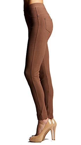 Premium Stretch Soft High Waisted Jeggings for Women - Denim Leggings - Cotton Stretch Blend - Full Length Mocha Brown - Large - X-Large (Tan Light Brown Pants Made Of Cotton)