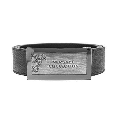 Versace Collection Men's Medusa Stainless Steel Buckle Pebble Leather Belt - Collection Belt