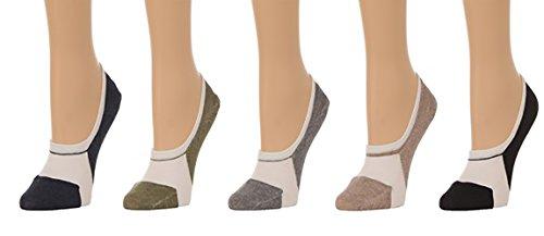 Men's No Show Two Tone Socks w/ Silicon Pad - (5 pair set) (One Size(7-11), Multi)