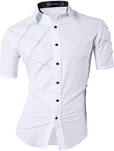 Sportrendy Men Casual Slim Fit Short Sleeve Button Down Dress Shirt JZS059 White L