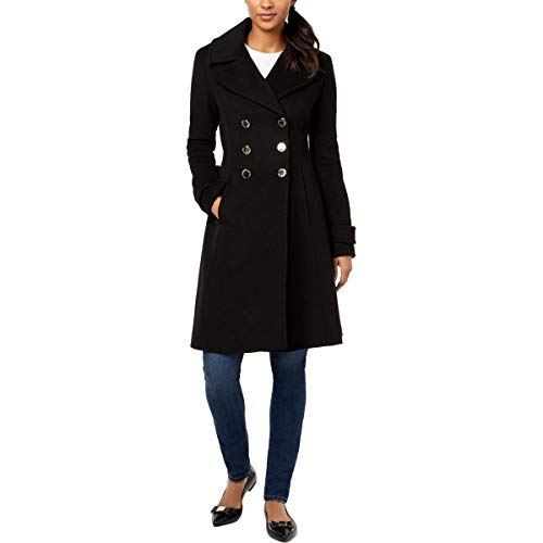 Ivanka Trump Double Breasted Button Wool Jacket with Flared Hem Black 2 (Womens Ivanka Trump Down Jacket)