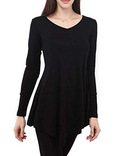 Elegante Tops Elasticit Primaverile Shirt Rotondo Lunga Moda Manica Irregular Donna Collo Monocromo g4OqW4EwA