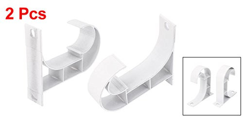 uxcell/® 2pcs Drapery Curtain Rod Hook Shape Metal Ceiling Bracket Ivory White
