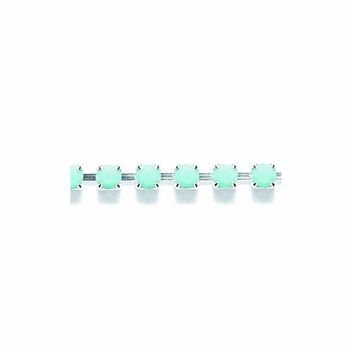 Preciosa Size SS12 Turquoise Rhinestone with Silver Cup Chain, 2-Feet Long