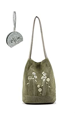 Micom Mori Girl Simple Rose Printing Large Canvas Tote Shoulder Hobo Handbags for Girls, Women (Green)