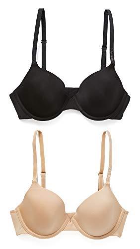 Calvin Klein Underwear Women's 2 Pack Essence T-Shirt Bras, Black/Bare, 36B