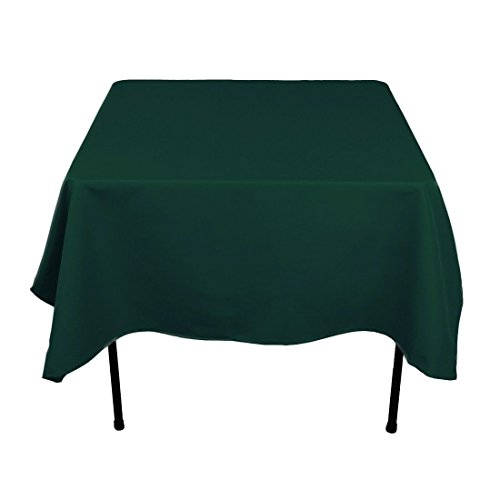 Gee Di Moda Square Tablecloth - 70 x 70 Inch - Hunter Green Square Table Cloth for Square or Round Tables in Washable Polyester - Great for Buffet Table, Parties, Holiday Dinner, Wedding & More ()