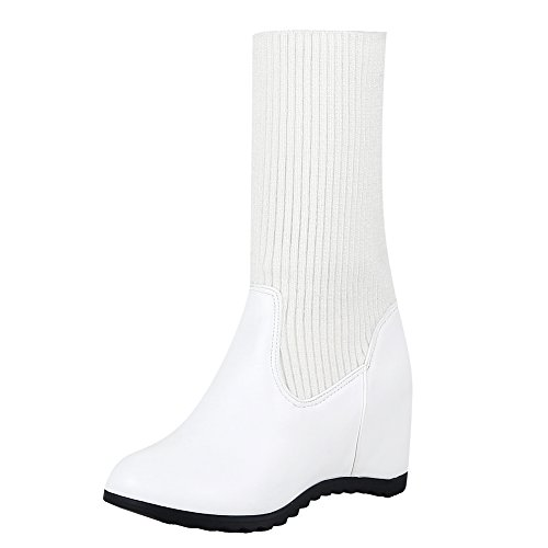 Latasa Mujeres Wedges Short Sweater Botas Blanco