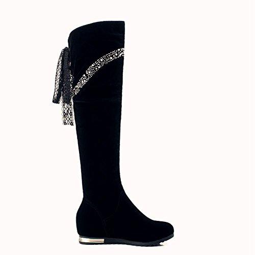 DecoStain Women's Rhinestone Drawstring Lace Knot Bowtie Slip On Knee High Boots Black wuwSk9yqM