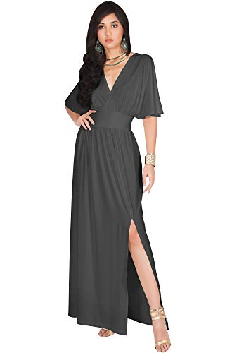 - KOH KOH Womens Long Sexy Kimono Short Sleeve Slit Split V-Neck Party Cocktail Evening Bridesmaid Wedding Guest Sun Gown Gowns Maxi Dress Dresses for Women, Pewter Gray Grey M 8-10