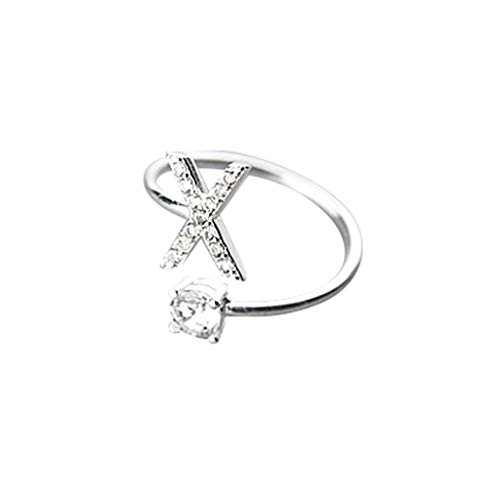 ( Orcbee  _Fashionable and Simple Opening 26 Letters with Diamond Ring Ladies Jewelry (X))