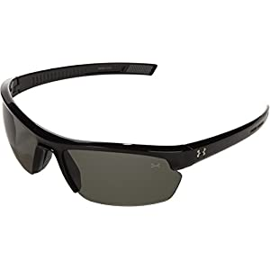 Under Armour Under Armour Stride XL Rectangle Sunglasses, Shiny Black Frame/Gray Lens, One Size