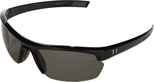 Under Armour Under Armour Stride XL Rectangle Sunglasses, Shiny Black Frame/Gray Lens, One - Ua Sunglasses