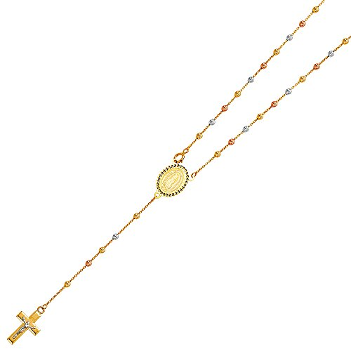 Ioka Jewelry - 14K Tri Color Solid Gold 2.5mm Beads Ball Rosary Necklace - 20