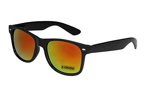 X-CRUZE® 8-054 Nerd Sonnenbrille Style Stil Retro Vintage Retro Unisex Herren Damen Männer Frauen Brille Nerdbrille - schwarz und rot-orange verspiegelt