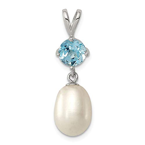 (925 Sterling Silver Blue Topaz 9mm Freshwater Cultured Pearl Teardrop Pendant Charm Necklace Gemstone Fine Jewelry Gifts For Women For Her)