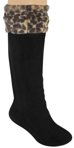 Capelli New York Ladies Tall Rainboot Liner With - Leopard Boots With Fur