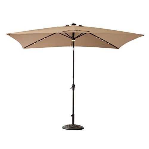 C-Hopetree Rectangle LED Patio Umbrella, 6ft 6in x 10 ft' Outdoor Market Parasol with Crank Winder, Push Button Tilt, Beige (Parasol Tilting)