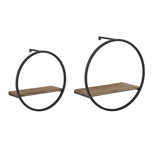 - Kate and Laurel Wicks Modern Glam Floating Wall Shelf Set of 2 | Round Black Metal Frame with White Oak Finish Solid Wood Shelf Boards