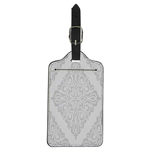 Semtomn Luggage Tag Pattern in the of Baroque Gray and White Floral Suitcase Baggage Label Travel Tag Labels ()