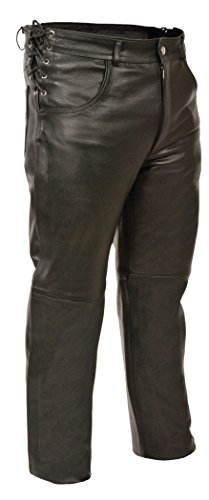 Milwaukee Leather SH1987-BLK-36 Men's Premium Leather Deep Pocket Over Pants (Black, Size 36) (Deep Black Leather)