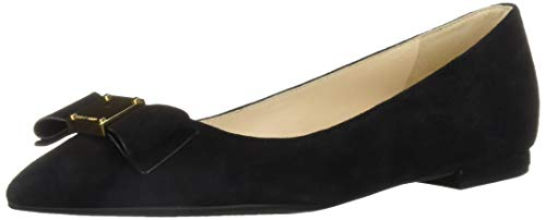 Bow Skimmer - Cole Haan Women's TALI Bow Skimmer Loafer Flat, Black Suede, 10 B US