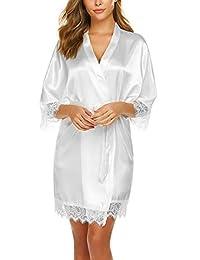 Avidlove Women Pure Color Kimono Robes Bridemaids Short Satin Nightwear