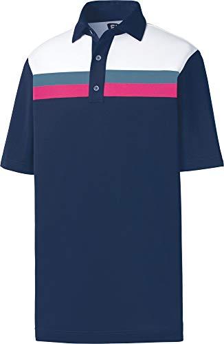 (FootJoy Men's Pique Color Block Golf Polo,(Navy/White/Slate,Large))